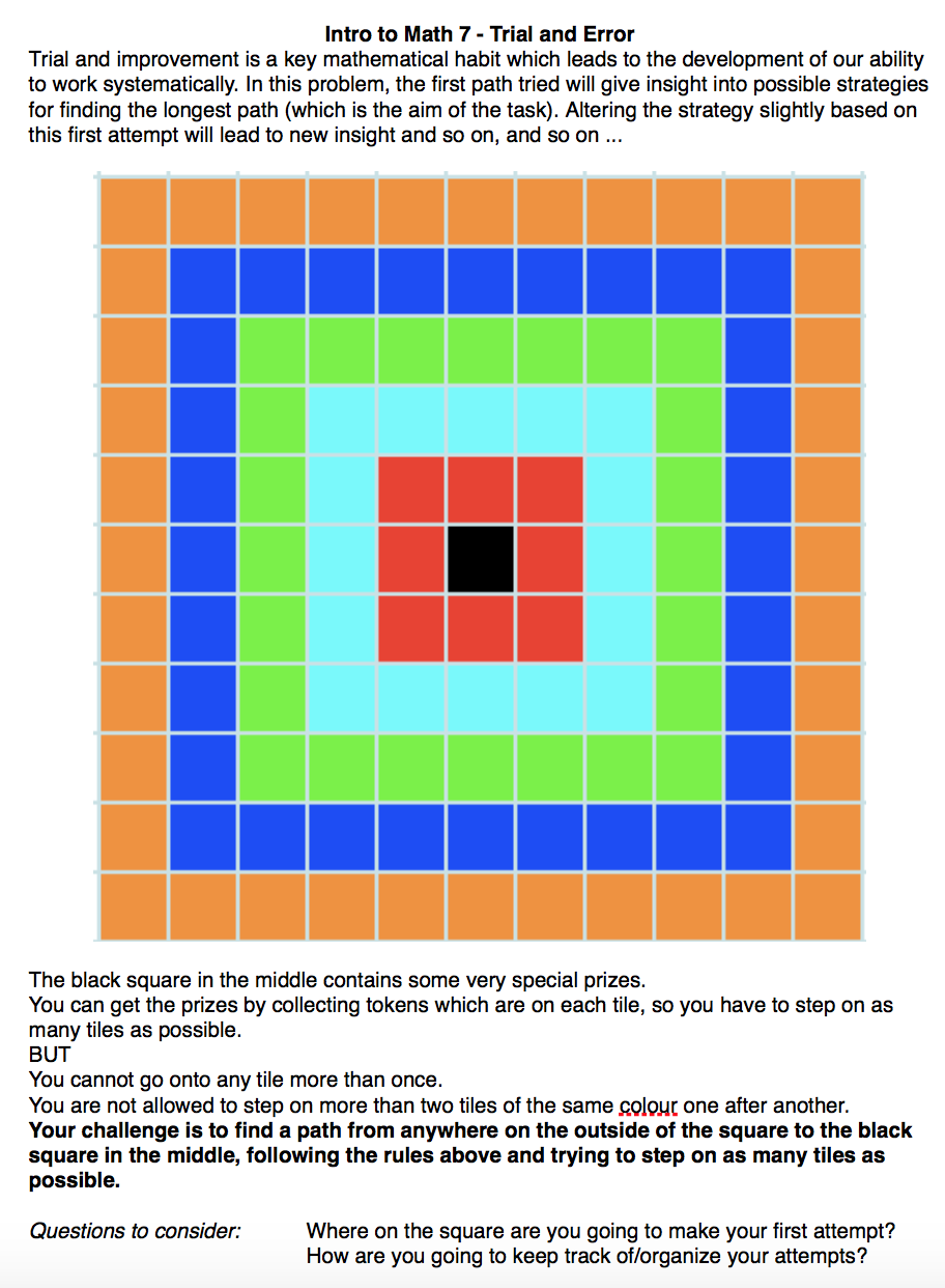 "Trial and Error in Mathematics – ""Walking the squares"" 